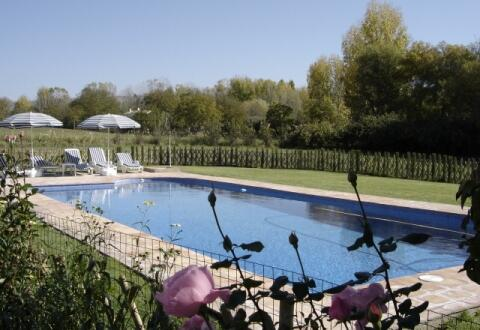 large fanced and lawned pool