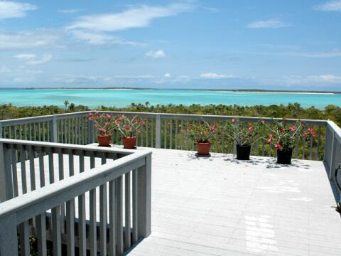 View of turquoise water from veranda