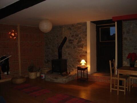 log fireplace in lounge