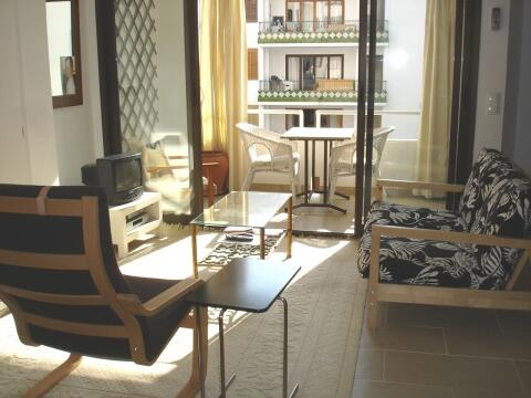 the living room opens to the terrace