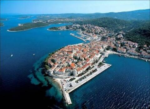 Korcula Old Town & our bay to the left.