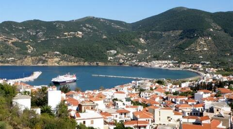 Stunning views over Skopelos town and harbour