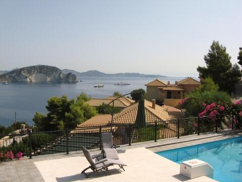 Panoramic view from our pool to Turtle Island and the Bay of Marathias