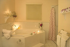 Luxury spa bath cottage with hand made aromatherpy spa products