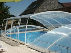 The Pool with dome for UV protection, lovely clean and warm water, even out of high summer.