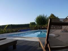 The sun deck and terrace with solar shower close by.