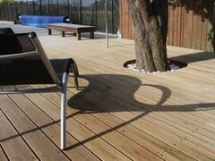 The second terrace by the swimming pool.  The area around the pool is very spacious, 100 sq ms of decking and 10o sq. ms of paving.