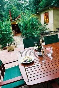 outdoor dining on BBQ patio