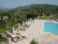 Views from the house to the pool and the countryside