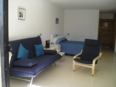 The studio apartment is decorated in a modern style with practical contemporary  furniture.