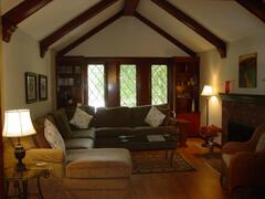 Large Living room with Fireplace and wood beams