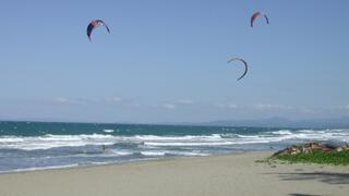 Kitesurfers at residents beach
