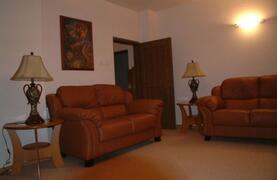 Living room with comfortable leather seating, tv, dvd, video