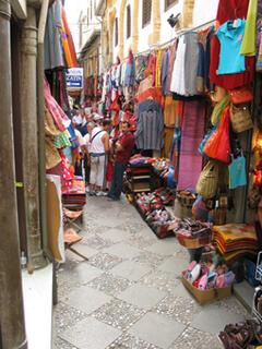 Granada market streets are colourful