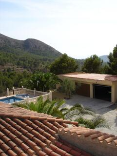 View on the garage and pool