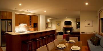 Kitchen, dining and living