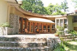 The veranda with sun curtain