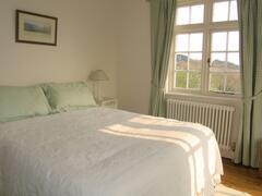 Green bedroom view