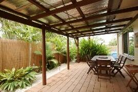 Cairns holiday house undercover patio with bbq