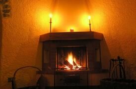 Fireplace and candle light