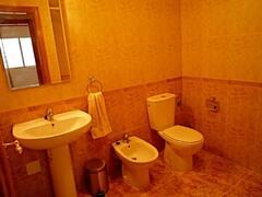 Bathroom with shower, bath, bidet.