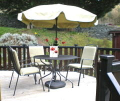the sunny decking area