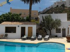 Property Photo: Pool area with superb views of Mojacar Pueblo