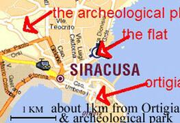 map of the holiday apartment in siracusa
