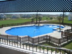 Property Photo: View of pool from terrace