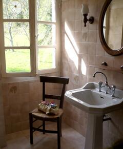 Bathroom overlooking the Orchard