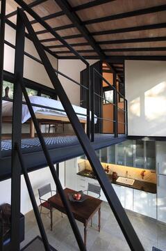 above: sleeping loft/bath, below: living/dining/kitchen