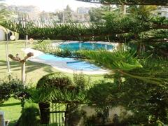 Property Photo: View of pool and garden from balcony