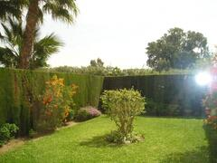 view of private garden from breakfast room.