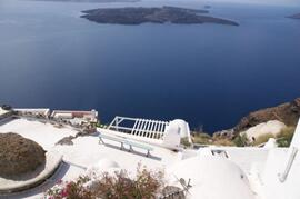 Property Photo: The veranda as seen from above and the spectacular view of the volcano
