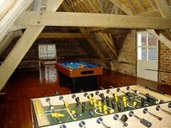 Games room with pool, table tennis, table football