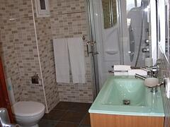 bathroom whits ultimate shower with radio....