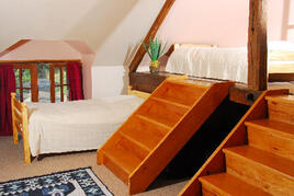 Quad bedroom with four single beds