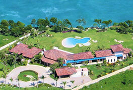 Aerial view of the villa and ocean