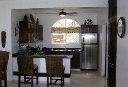 View of the stainless steel kitchen