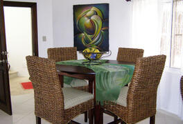 A view of the living room dining table