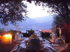 Dining by candlelight on the terrace