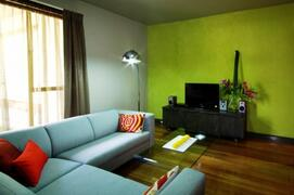 Comfortable & functional living area, with DVD player, stereo and games