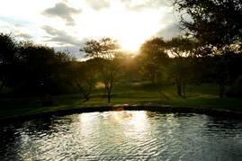 Property Photo: Sunet over the pool