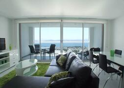Property Photo: Looking out across the apartment to the balcony and the breathtaking views of the bay of Gulluk
