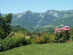 The view of the Sibillini Mountains from the garden of Casa Carotondo