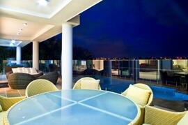 Outdoor Dining With Extensive Water & Surfers Skyline Views