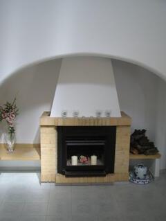 traditional fireplace at Villa Bonita