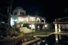 Pool to House at Night