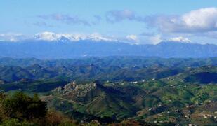 Beautiful panoramic mountain views surround the house