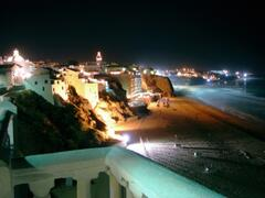 Albufeira's beach by night.